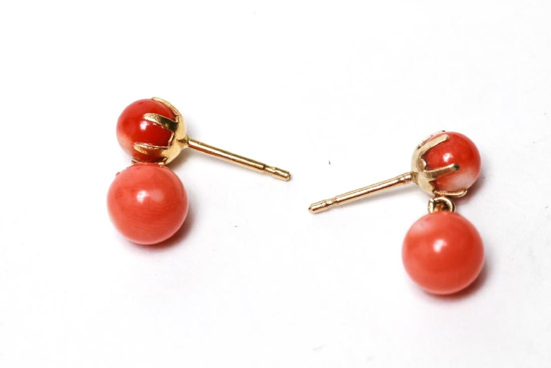 14K Gold and Coral Dangle Post Earrings, Pair - 4