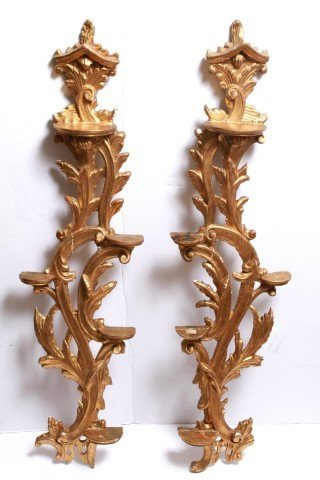 Italian Rococo-Manner Giltwood Candle Holders-Pair