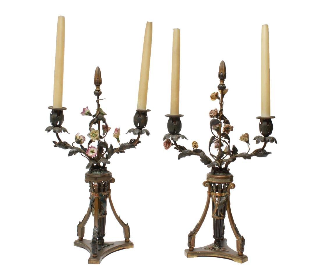 Capodimonte & Brass Candelabra Lamps, Pair