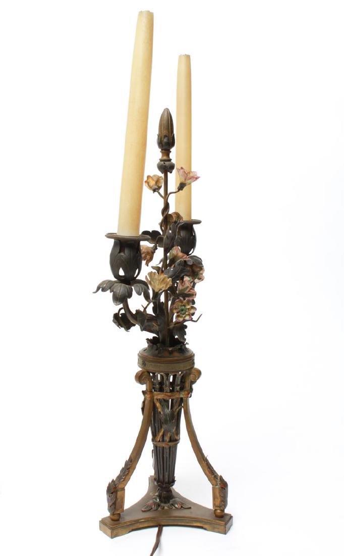 Capodimonte & Brass Candelabra Lamps, Pair - 4