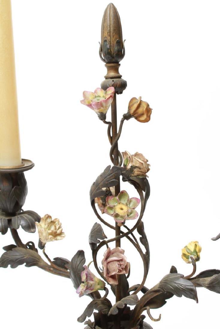 Capodimonte & Brass Candelabra Lamps, Pair - 6