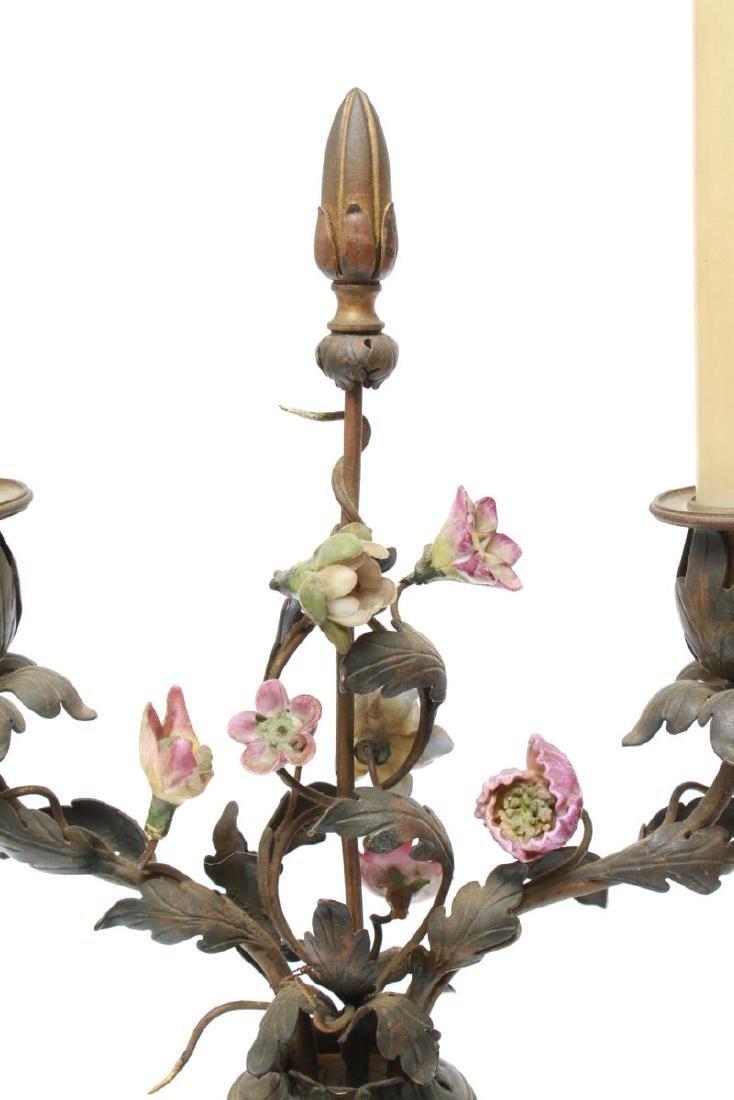 Capodimonte & Brass Candelabra Lamps, Pair - 7
