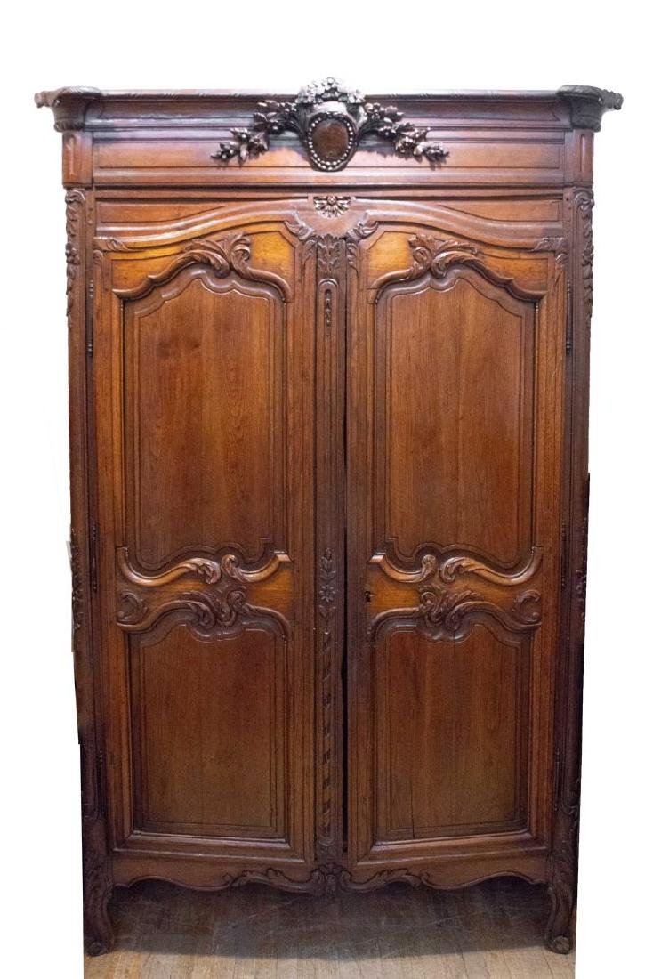 French Provincial Walnut Armoire, Antique