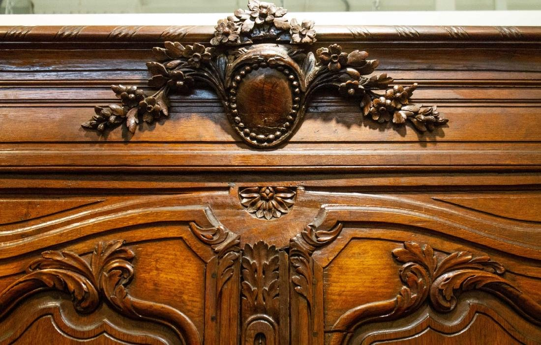 French Provincial Walnut Armoire, Antique - 2