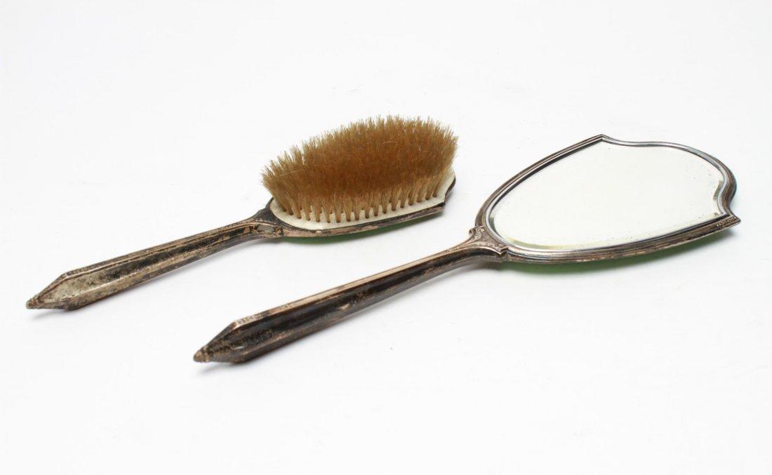 Saart Brothers Silver & Enamel Mirror & Brush Set - 2