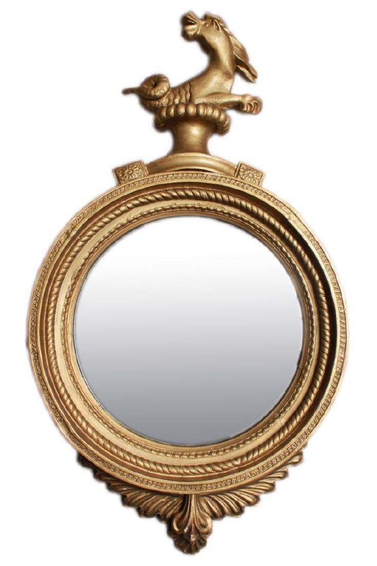 Irish Regency Giltwood Mirror, Hippocanthus,19th C