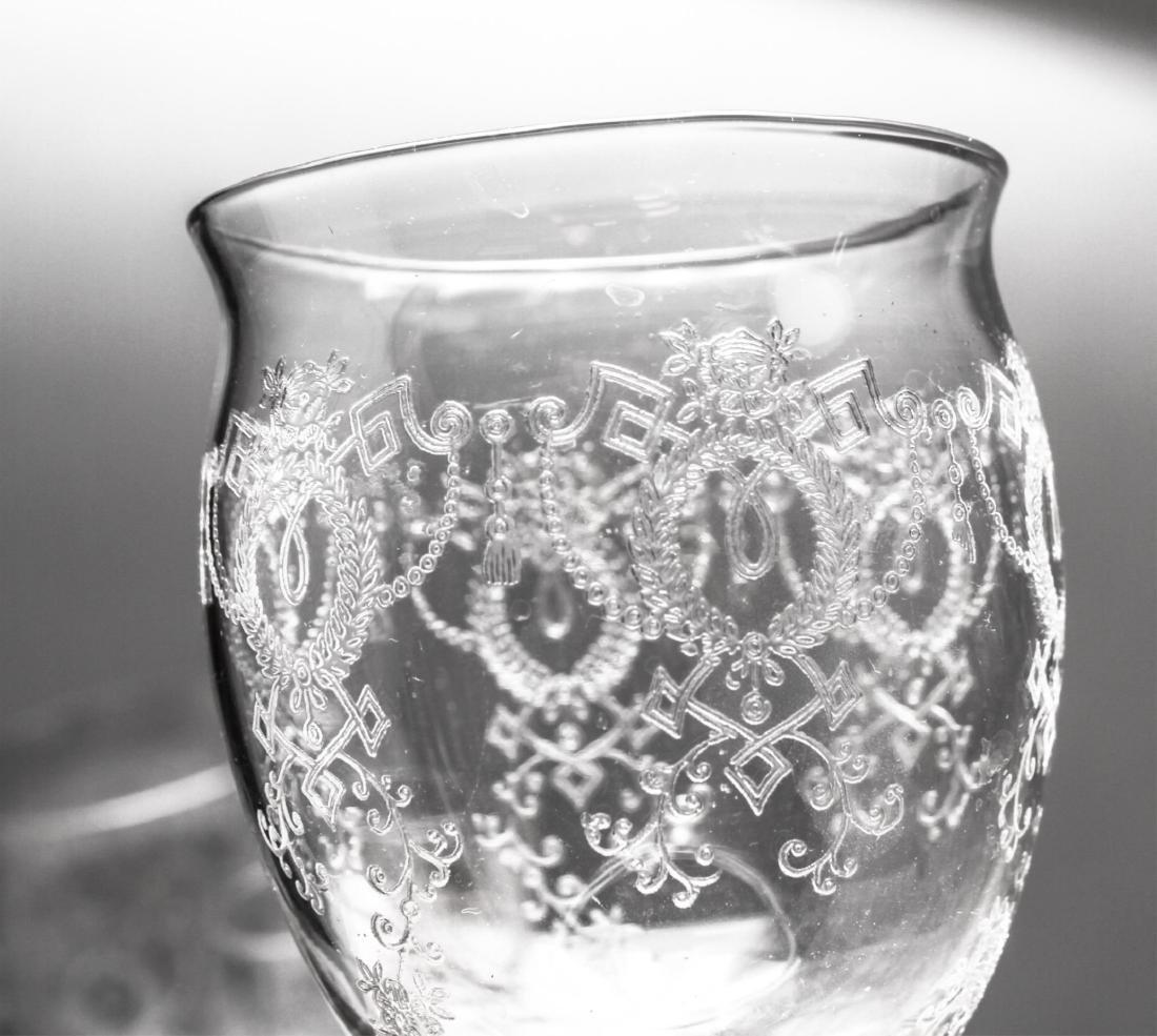 Etched Bar Glasses, Vintage, 61 Pieces - 10