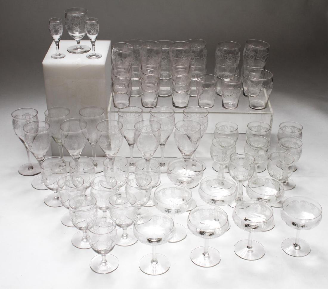 Etched Bar Glasses, Vintage, 61 Pieces