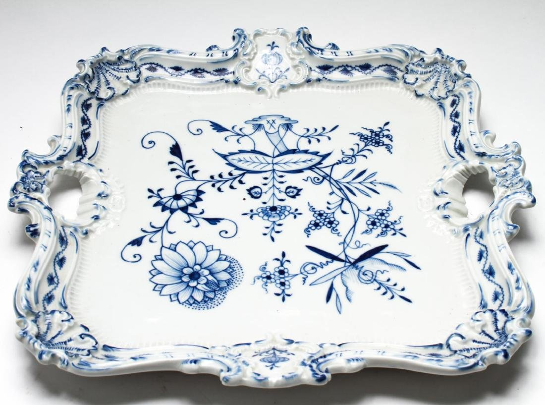 Meissen Porcelain Blue Onion Square Serving Tray