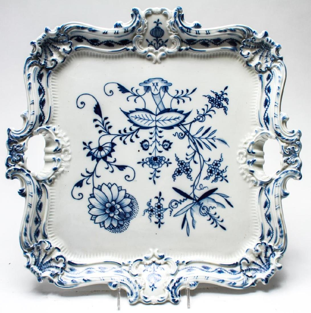 Meissen Porcelain Blue Onion Square Serving Tray - 3