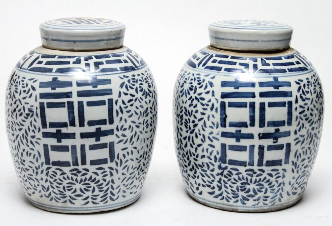 Chinese Blue & White Porcelain Ginger Jars, Pair