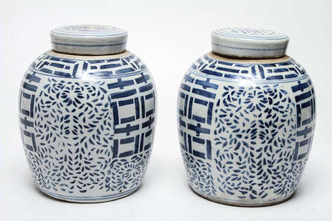 Chinese Blue & White Porcelain Ginger Jars, Pair - 2