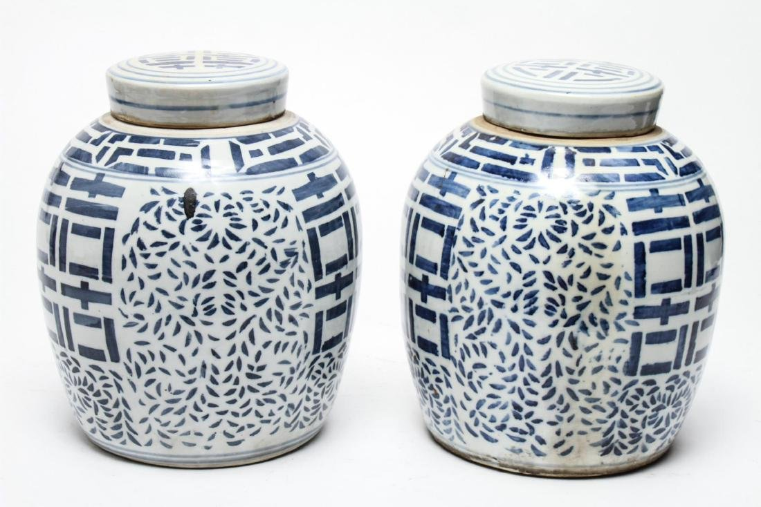 Chinese Blue & White Porcelain Ginger Jars, Pair - 3