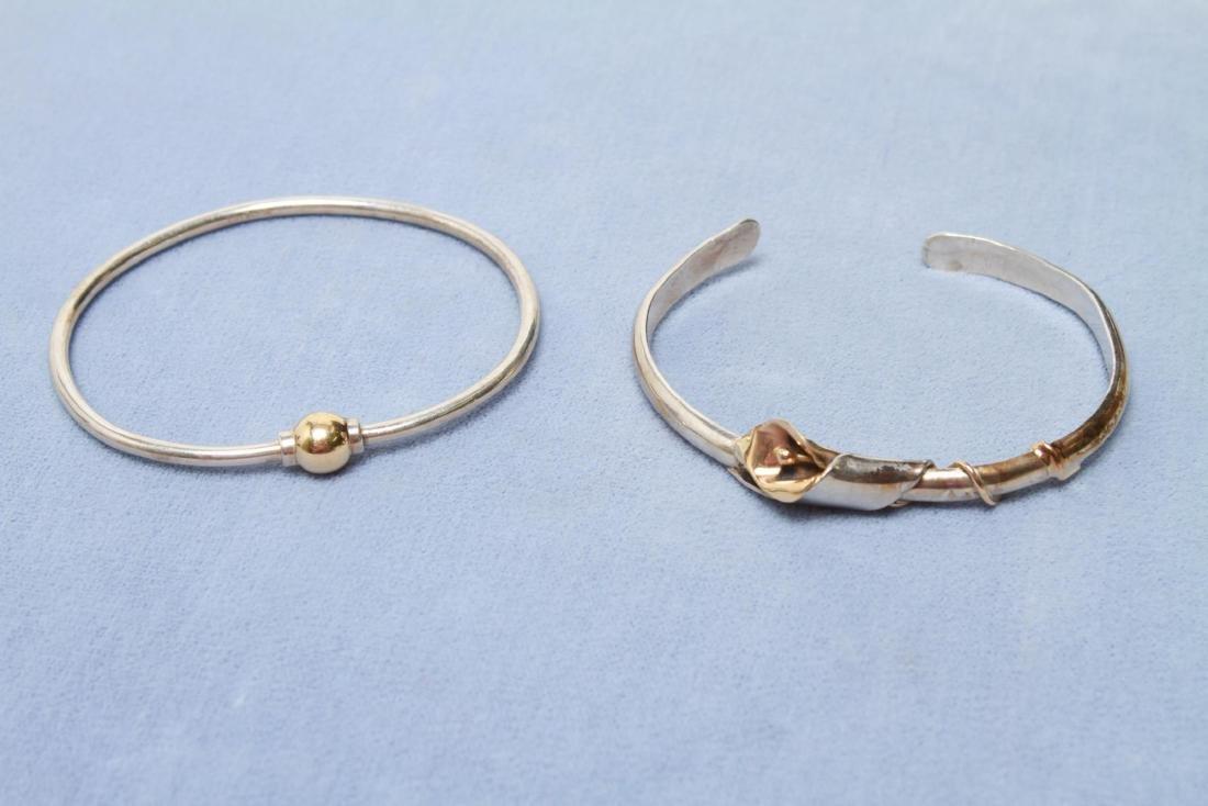 Sterling & 14K Gold Cuff and Bangle Bracelets, 2