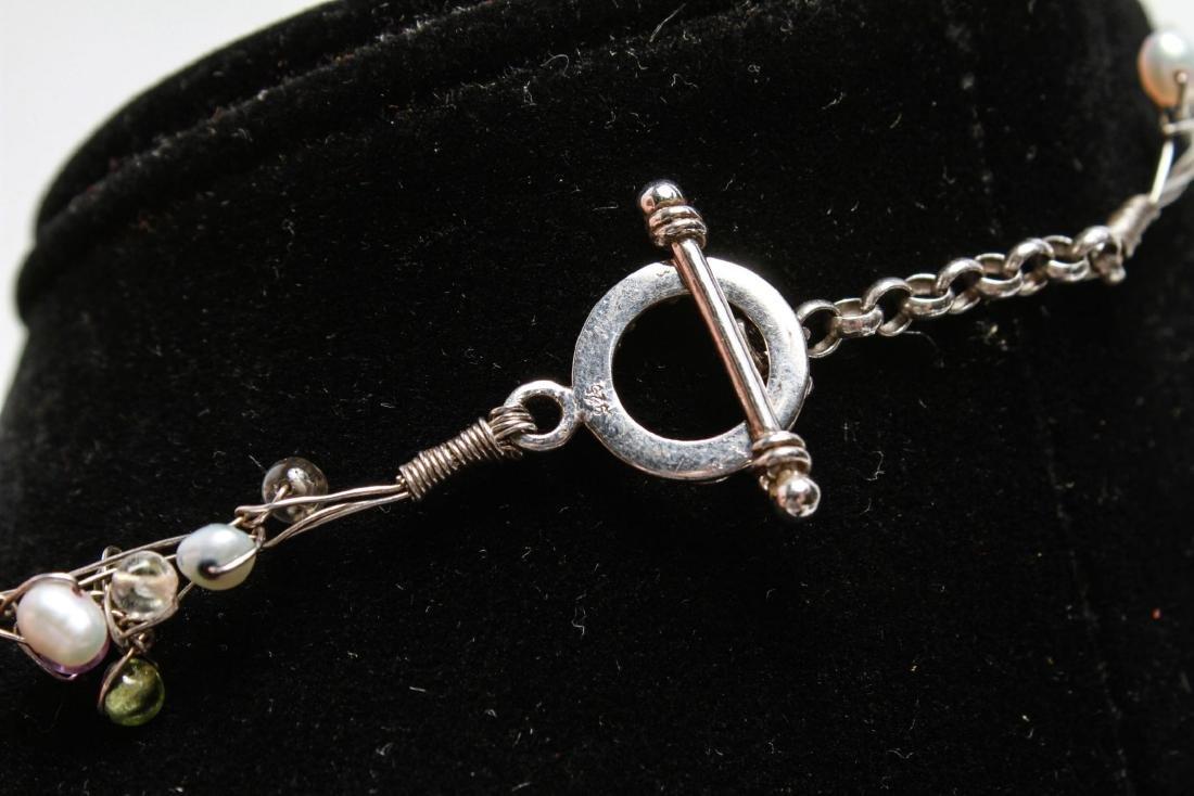 Sterling Wire Pearls Quartz Necklace & Bracelet, 2 - 10