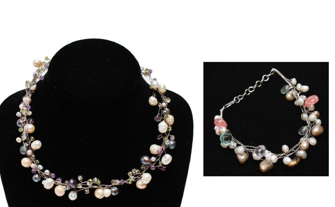 Sterling Wire Pearls Quartz Necklace & Bracelet, 2