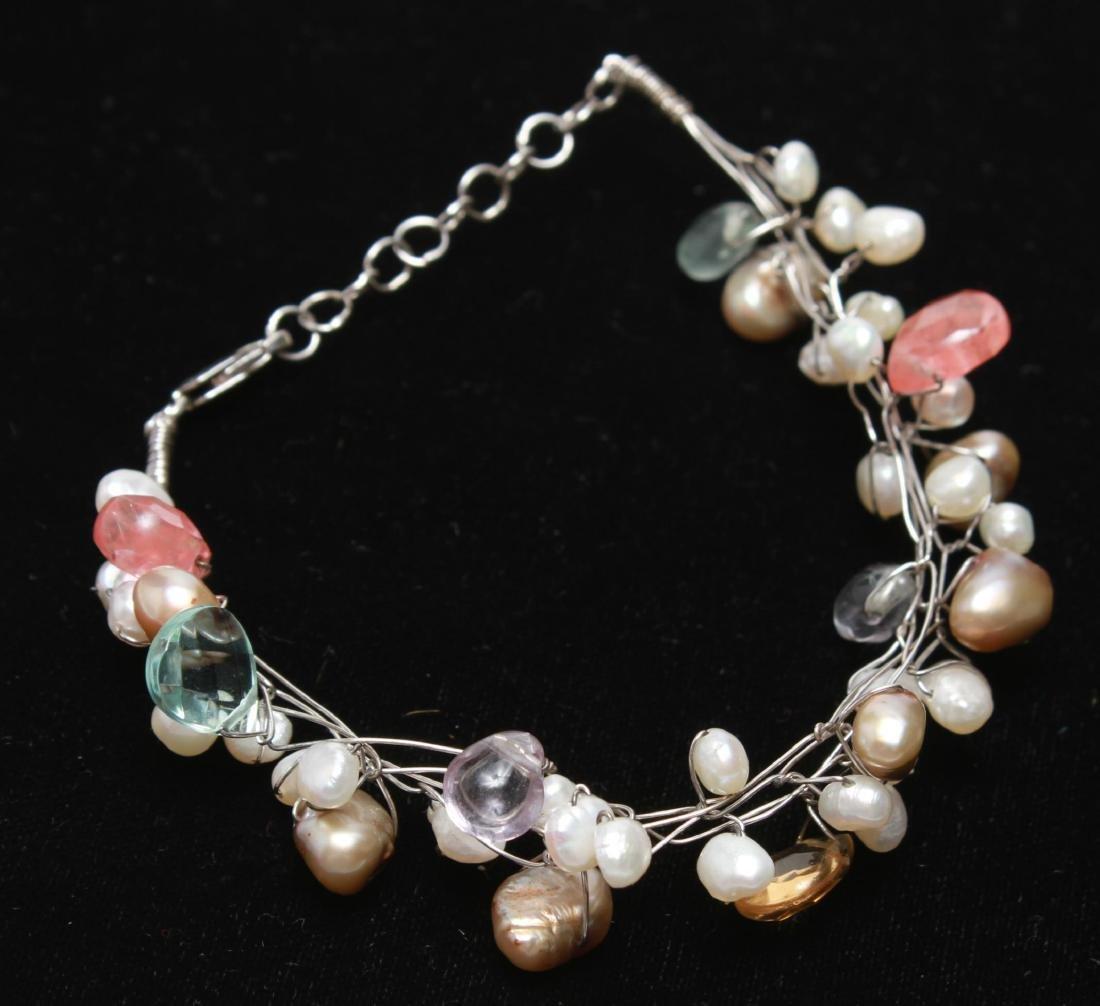 Sterling Wire Pearls Quartz Necklace & Bracelet, 2 - 2