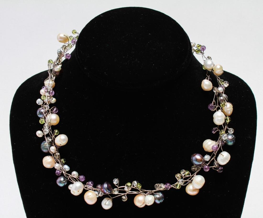 Sterling Wire Pearls Quartz Necklace & Bracelet, 2 - 3