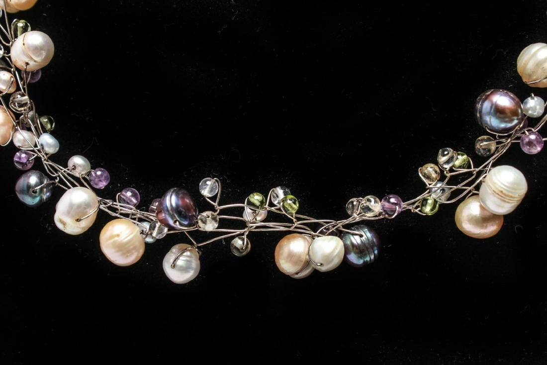 Sterling Wire Pearls Quartz Necklace & Bracelet, 2 - 4
