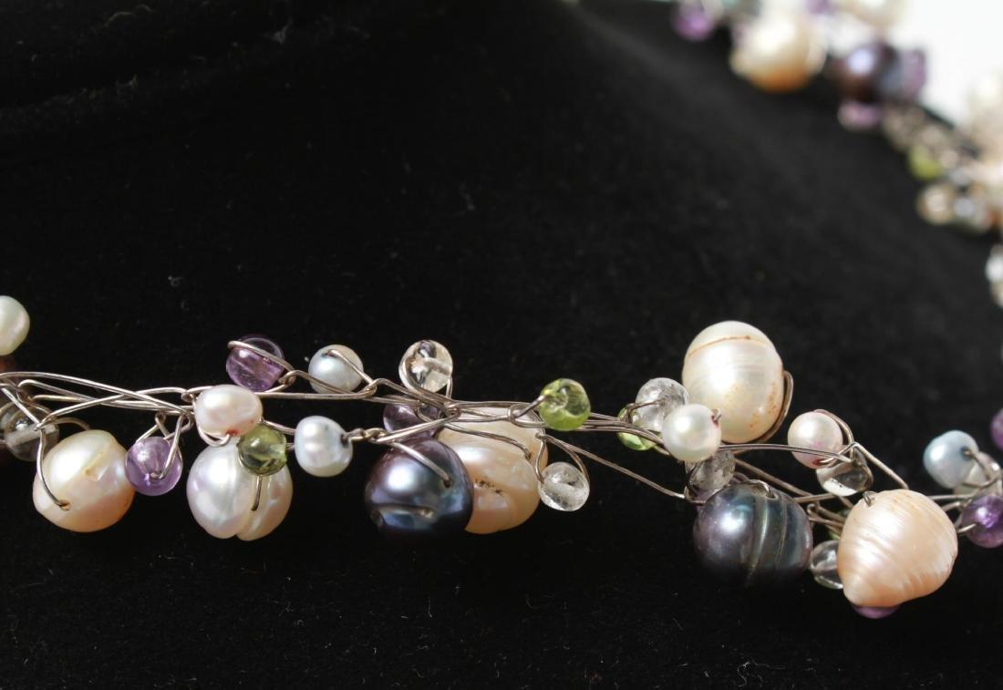 Sterling Wire Pearls Quartz Necklace & Bracelet, 2 - 6