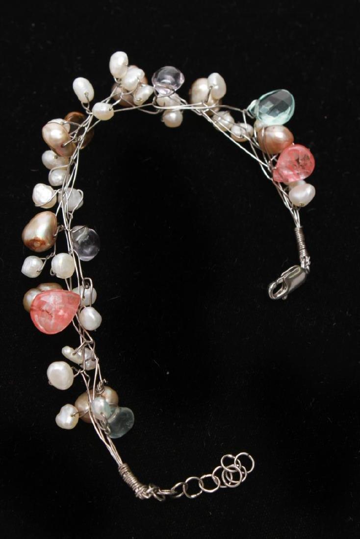 Sterling Wire Pearls Quartz Necklace & Bracelet, 2 - 7