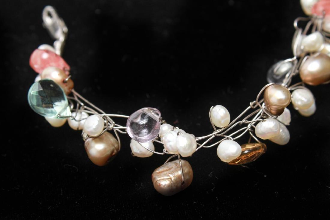 Sterling Wire Pearls Quartz Necklace & Bracelet, 2 - 8