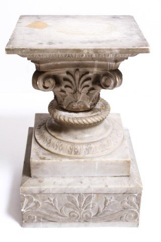 Antique Marble Pedestal w Carved Anthemions