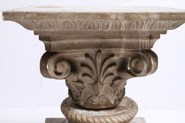 Antique Marble Pedestal w Carved Anthemions - 2