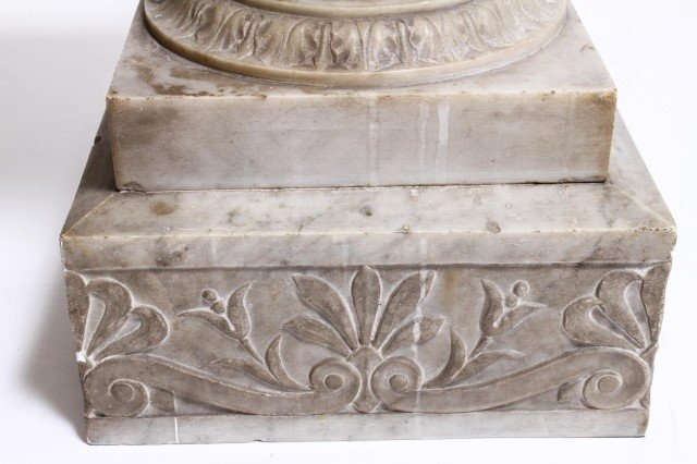 Antique Marble Pedestal w Carved Anthemions - 3