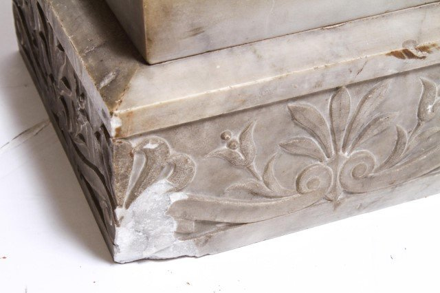 Antique Marble Pedestal w Carved Anthemions - 7