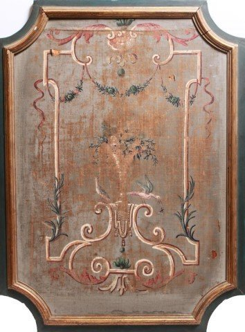 Neoclassical Painted Canvas Panel, Mounted Antique