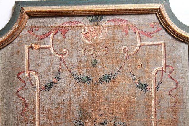 Neoclassical Painted Canvas Panel, Mounted Antique - 2