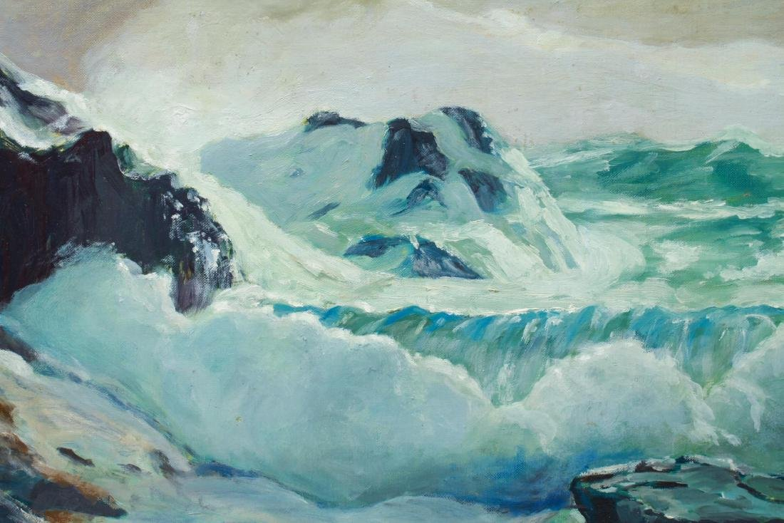 Seascape Waterfall & Crashing Waves Oil on Canvas - 2