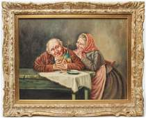 Genre Scene of Elderly Couple Oil on Canvas Board