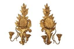 Italian Baroque Giltwood Wall Candleholders, Pair