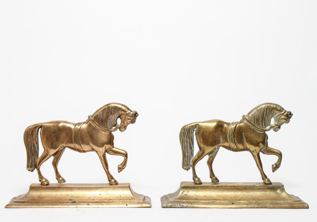 English Gilt Brass Prancing Horse Bookends, Large