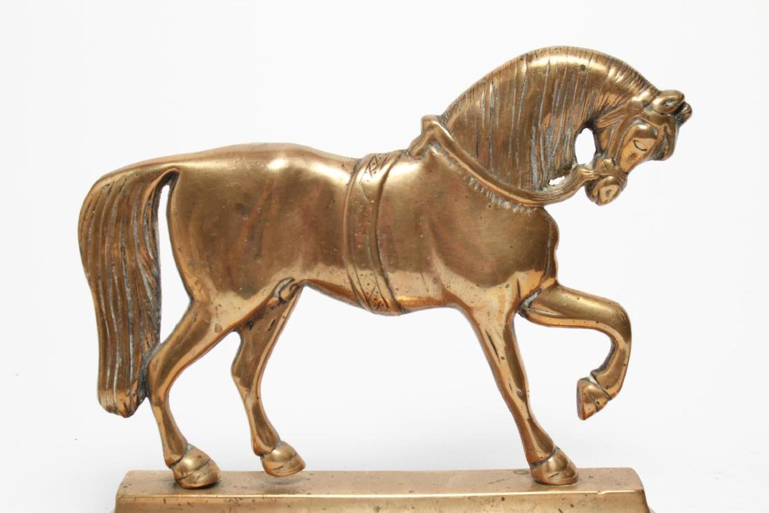 English Gilt Brass Prancing Horse Bookends, Large - 3