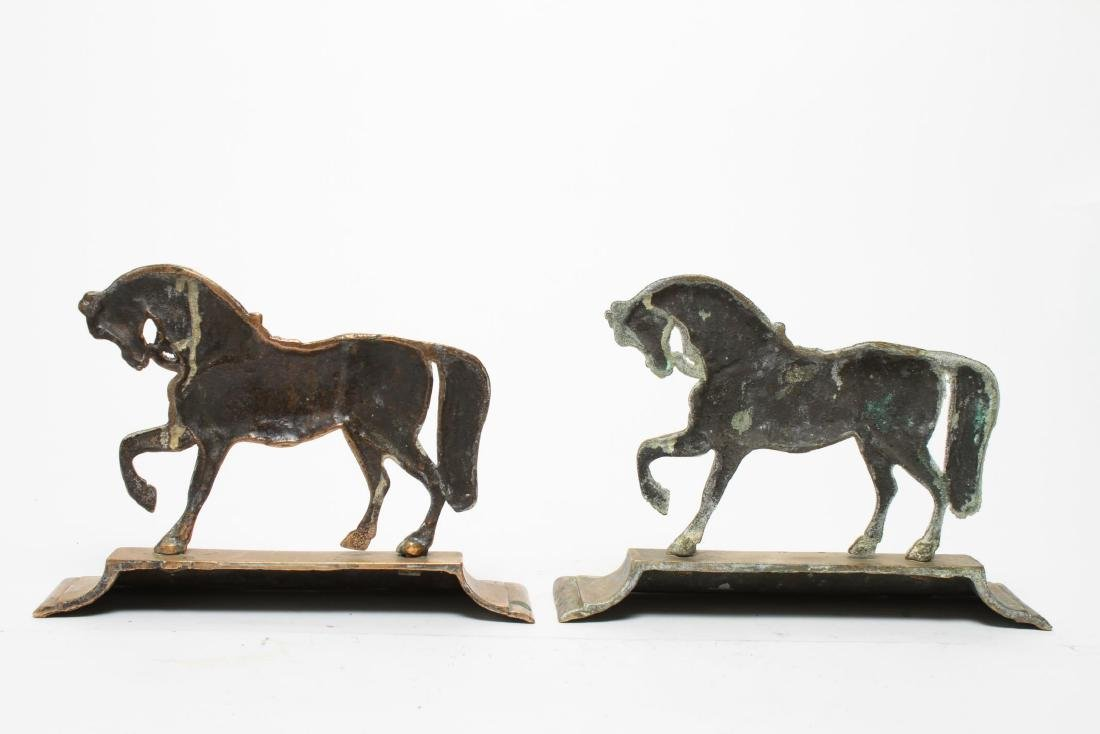 English Gilt Brass Prancing Horse Bookends, Large - 4