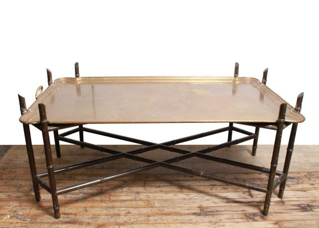 Hollywood Regency Bamboo & Brass Tray Top Table