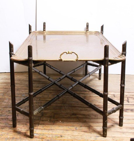 Hollywood Regency Bamboo & Brass Tray Top Table - 3