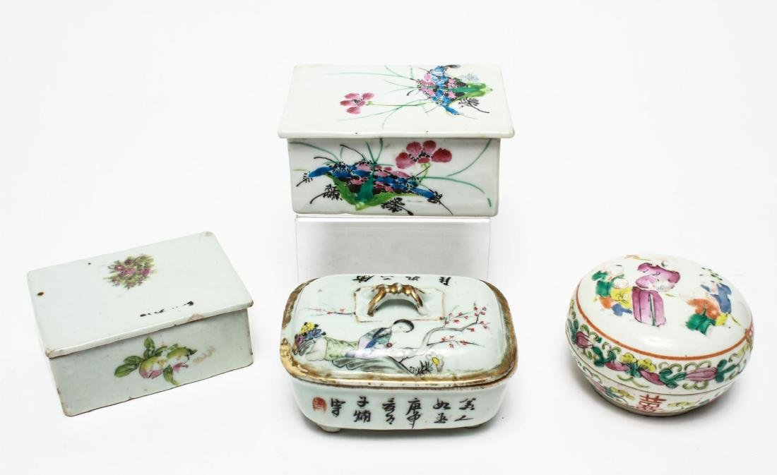 Chinese Qing Porcelain Ink & Other Boxes, 4