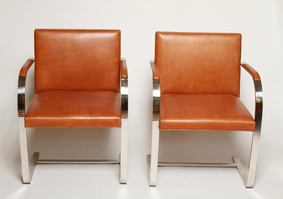 Mies van der Rohe Flat Bar Brno Arm Chairs, Pair