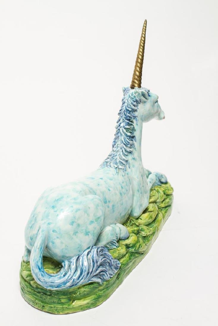 Italian Recumbent Unicorn Ceramic w Brass Horn - 4