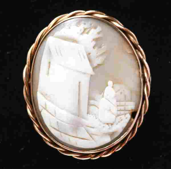 Victorian 14K Gold Carved Shell Cameo Brooch