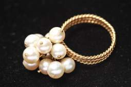 18K Gold Dangle Pearls Cluster Ring