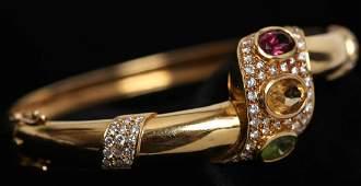 18K Gold, Pave Diamond & Precious Stones Bracelet