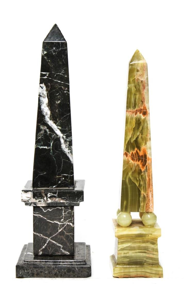Agate & Marble Tabletop Obelisks, Group of 2