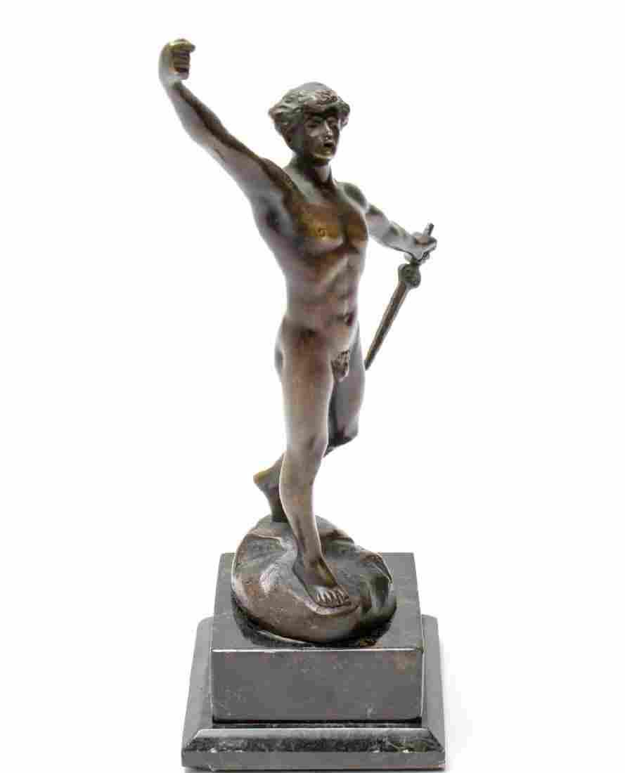 """Otto Schmidt Hofer """"Perseus"""" Bronze Male Nude"""