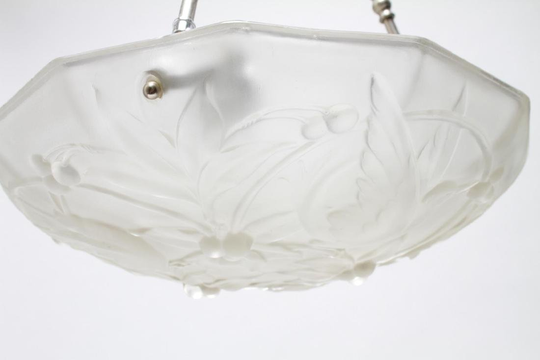 French Art Deco Manner Frosted Glass Chandelier - 2