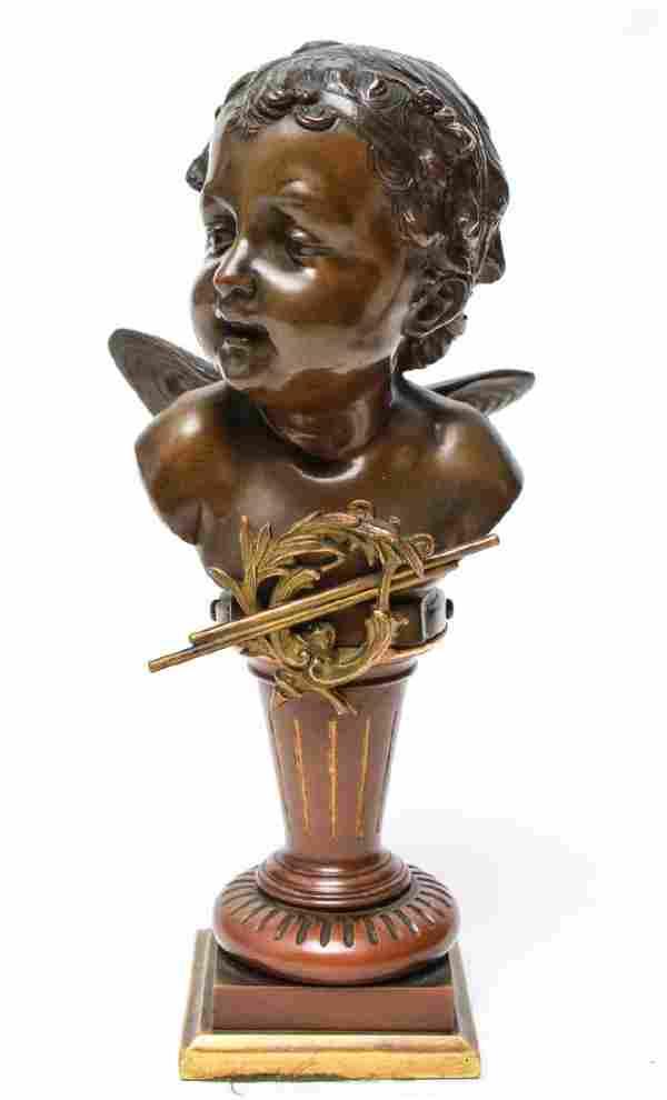 Carl Kauba Cherub Bust Butterfly Wings Bronze 1892
